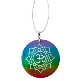 """Halskette """"Lotus Om"""" Muschel Airbrush rainbow 5cm"""