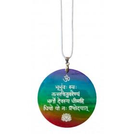 "Halskette ""Gayatri Mantra"" Muschel Airbrush rainbow 5cm"