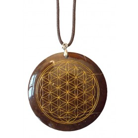"""Halskette """"Blume des Lebens"""" Coconut gold lackiert 5cm"""