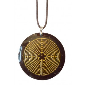 "Halskette ""Labyrinth Chartres"" Coconut gold lackiert 5cm"