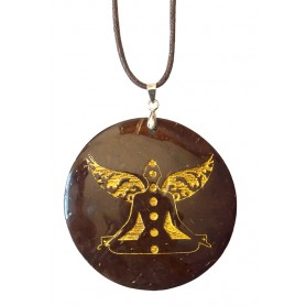 "Halskette ""Chakra Buddha"" Coconut gold lackiert 5cm"
