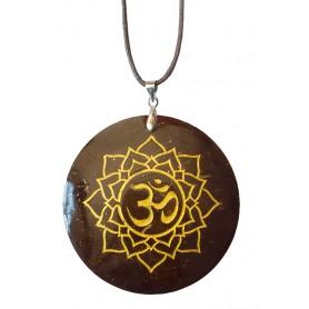 "Halskette ""Lotus Om"" Coconut gold lackiert 5cm"