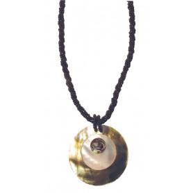 """Halskette Muschelmosaik """"Mother of Pearl"""" 6cm schwarz"""