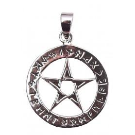 "Anhänger ""Pentagramm mit Runen"" Silber 925 5"