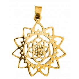 "Anhänger ""Blume des Lebens mit Lotus"" Messing 3"