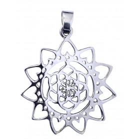 "Anhänger ""Blume des Lebens mit Lotus"" Messing versilbert 3"