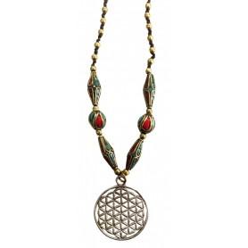 """Halskette """"Blume des Lebens """" Kupfer mit Messing- und Nepalperlen 55cm"""