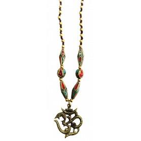 """Halskette """"Om"""" mit Messing- und Nepalperlen 55cm"""