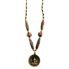 """Halskette """"Buddha Amulett"""" mit Messing- und Nepalperlen 55cm"""
