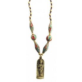 """Halskette """"Lakshmi Amulett"""" mit Messing- und Nepalperlen 55cm"""