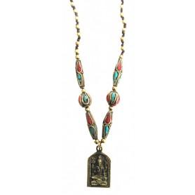 """Halskette """"Shiva Amulett"""" mit Messing- und Nepalperlen 55cm"""
