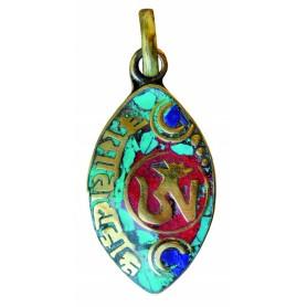 """Anhänger """"Tibet-Om"""" grün/rot  Messing oval 2x3cm"""