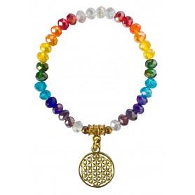 "Tikra ""Blume des Lebens Rainbow"" Kristallglasperlen/Messing 6cm"