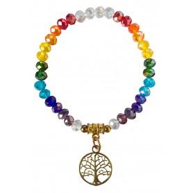 "Tikra ""Baum des Lebens Rainbow"" Kristallglasperlen/Messing 6cm"