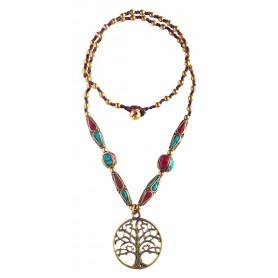 """Halskette """"Baum des Lebens"""" mit Messing- und Nepalperlen 55cm"""