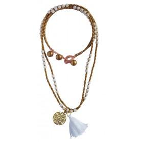 """Halskette """"Blume des Lebens"""" Howlith- und Messingperlen 55cm"""