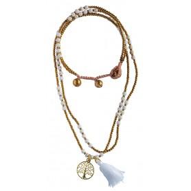 """Halskette """"Baum des Lebens"""" Howlith- und Messingperlen 55cm"""