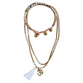"""Halskette """"Om"""" Howlith- und Messingperlen 55cm"""