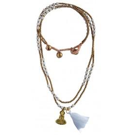 """Halskette """"Buddha"""" Howlith- und Messingperlen 55cm"""