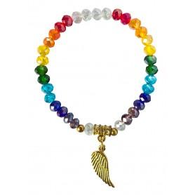 "Tikra ""Engelsflügel Rainbow"" Kristallglasperlen/Messing 6cm"