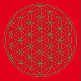 "Leinwanddruck ""Blume des Lebens"" Basis-Chakra rot 20x20cm"