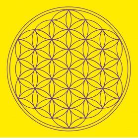 "Leinwanddruck ""Blume des Lebens"" Solarplexus Chakra gelb 20x20cm"