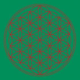 "Leinwanddruck ""Blume des Lebens"" Herz-Chakra grün 20x20cm"