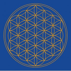 "Leinwanddruck ""Blume des Lebens"" Stirn-Chakra blau 20x20cm"
