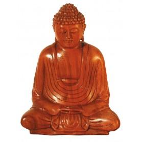 Gautama Buddha im Lotossitz Holz braun 15cm