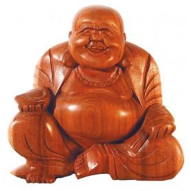 Lachender Buddha im Lotossitz Holz braun 15cm