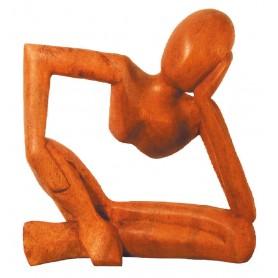 """Denker"" nach links gelehnt Holz braun 15x15cm"