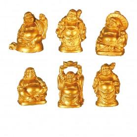 """""""Lachende Buddhas"""" Kunststein goldfarben 6er Set 2x3cm"""