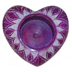 """Teelicht """"Herz"""" Speckstein lila 6cm"""