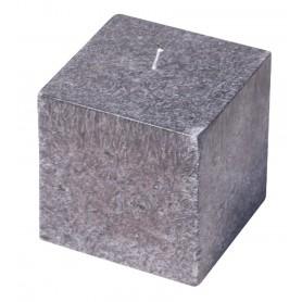 """Kerze """"Cube"""" Stearin grau 8x8cm"""