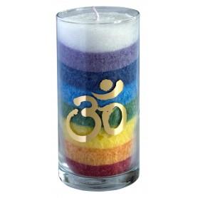 """Kerze """"Rainbow Om"""" im Glas Stearin regenbogen 14cm"""