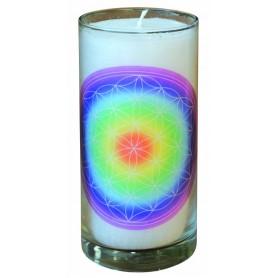 "Kerze ""Blume des Lebens regenbogen"" im Glas Stearin weiss 14cm"
