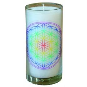 """Kerze """"Blume des Lebens transparent"""" im Glas Stearin weiss 14cm"""