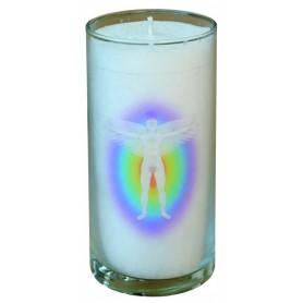 """Kerze """"Chakra Aktivierung"""" im Glas Stearin weiss 14cm"""