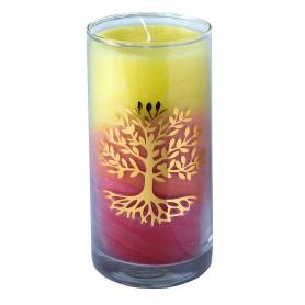 "Kerze ""Sunrise Lebensbaum"" im Glas Stearin 14cm"