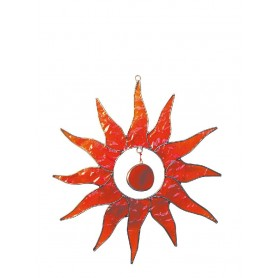 """Suncatcher """"Sonne"""" Fiberglas rot 20cm"""