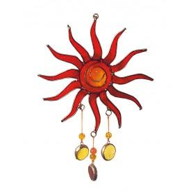 """Suncatcher """"Sonne"""" Fiberglas rot 15cm"""