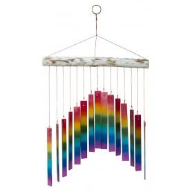 "Klangspiel ""Rainbow"" Glas/Holz whitewashed 27x40cm"