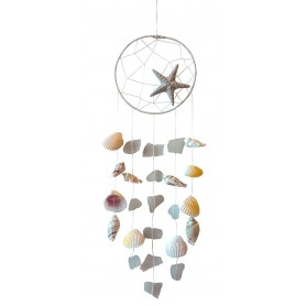 """Klangspiel """"Sea Shell"""" Recyceltes Holz/Glas weiss 14x50cm"""