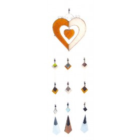 Tiffany Mobile Herzen Glas orange 10x40cm