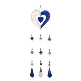 Tiffany Mobile Herzen Glas blau 10x40cm