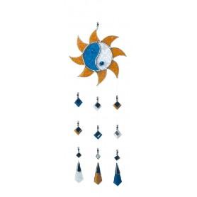 Tiffany Sonne-Mobile Glas blau/gelb 15x40cm