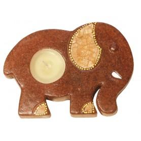"""Teelichthalter """"Elefant"""" Terracotta braun 15cm"""