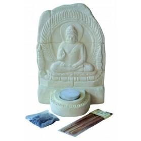 """Teelichthalter """"Buddha Relief"""" Resin weiss 14x20x10cm"""
