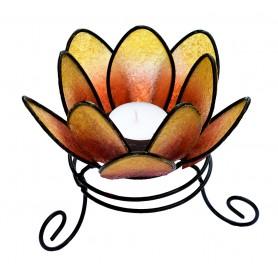 "Teelichthalter ""Lotus"" Resin Metall orange 14x10cm"