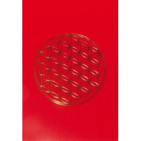 "Klappkarte ""Blume des Lebens"" rot/gold 12x17cm"